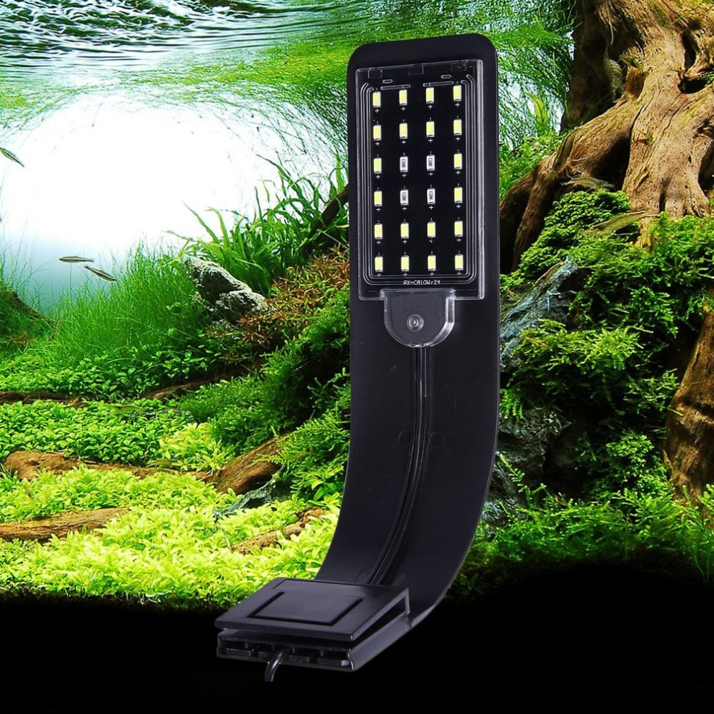 X5B EU/US Plug Super Slim LED Aquarium Light Plants Grow Light Aquatic Plant Lamp Waterproof Clip-on Lamp For Fish Tank 15w aquarium clip lamp fish tank light led display intelligent touching control changeable light color temp inductor water plant