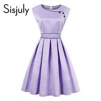 Sisjuly Vintage Dress 1950s Women Clothing Retro Round Neck Knee Length Summer Dress Light Purple Lady