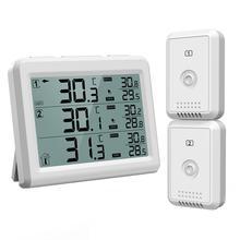 أوريا الثلاجة ميزان الحرارة الرقمي اللاسلكية الفريزر ميزان الحرارة إنذار مسموعة المنزلية داخلي في الهواء الطلق درجة الحرارة الخلفية