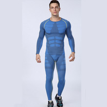 1set tops pants Europe s compression Men s quick drying breathable Outdoor Sports Long Johns Fitness