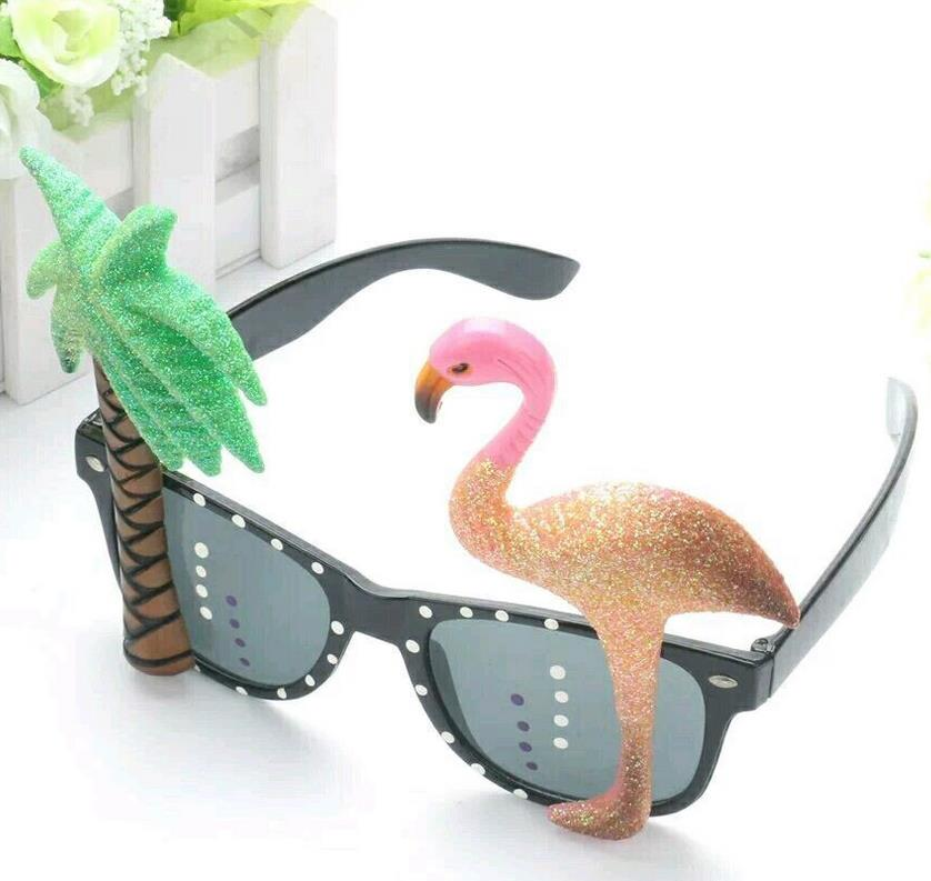 Tropical Flamingo Sunglasses Novelty Fancy Dress Holiday Glasses