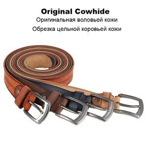 Image 5 - Cinto de couro bovino natural, cinto de couro bovino para homens, fivela de metal duro, macio, original, textura única, jeans de couro real cinto de cinto