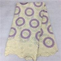 Belle nouvelle entièrement fait main de velours tissu Suisse de Voile Africaine coton tissus pour vêtements de mariage dres