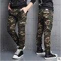 Розничная осень и Весна boy камуфляж брюки повседневные брюки большой девственный ребенок лямки хлопка длинные брюки дети 3-14 лет