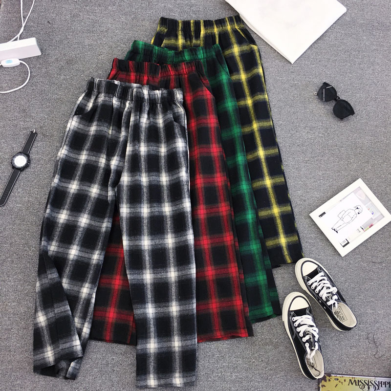 Harajuku Streetwear Plaid   Pants   Women High Waist Summer Loose   Wide     Leg     Pants   korean Hip Hop   pants   trousers women pantalon mujer