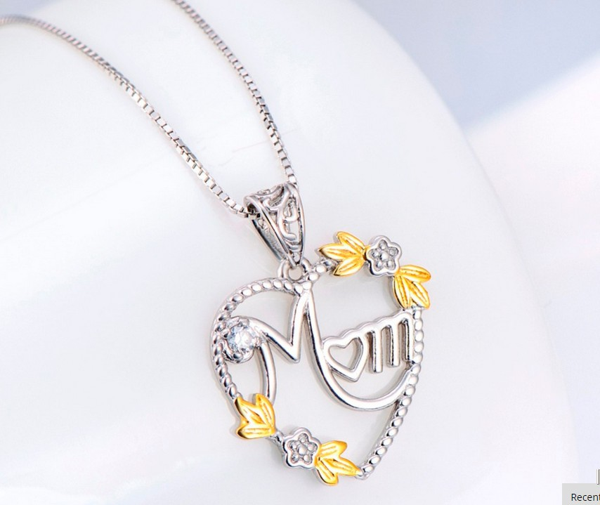 925 Sterling Silver Heart MOM Pendant Long Chain Statement Choker Necklace for Women Fashion Jewelry Best Mother's Day Gift 2019 1