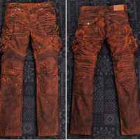 UGLYBROS UB028 Retro Vintage Orange Black Jeans Motorcycle Pants Protection moto Jeans Men's Cycling Pants