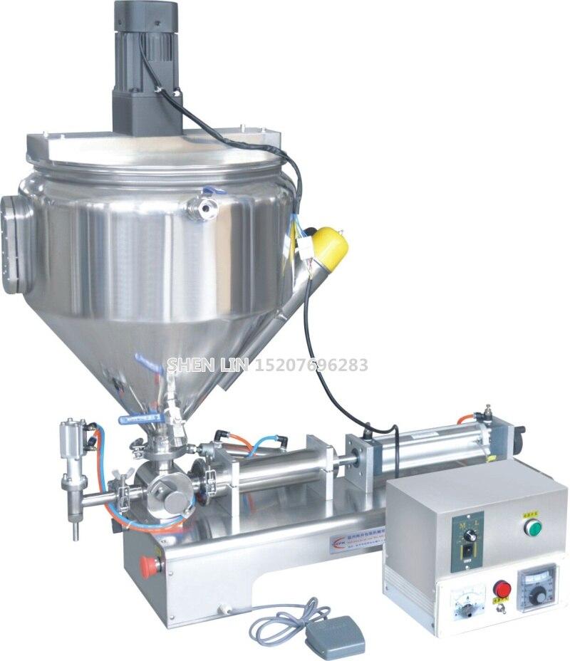 Máquina de enchimento, massa de embalagem material de enchimento, máquina de enchimento de creme, 1000 ml, SS304, inoxidável, 30L hopper, aquecimento e mistura