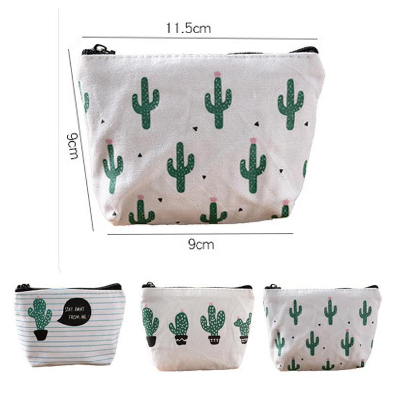 Lodogsow 1 pcs Fashion Cute Cartoon Cactus Canvas Bags Zero Wallet Child Girl Boy Purse Lady Women Coin Wallets Pouch Stripes 4