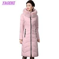 Plus Size Winter Warm Down Cotton Jacket Women Slim Long Cotton Outerwear Women High Quality Hooded