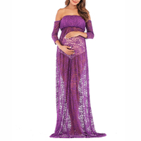 Pregnant Womens Sexy Lace Formal See through Off shoulder 3/4 Sleeve Long Dress