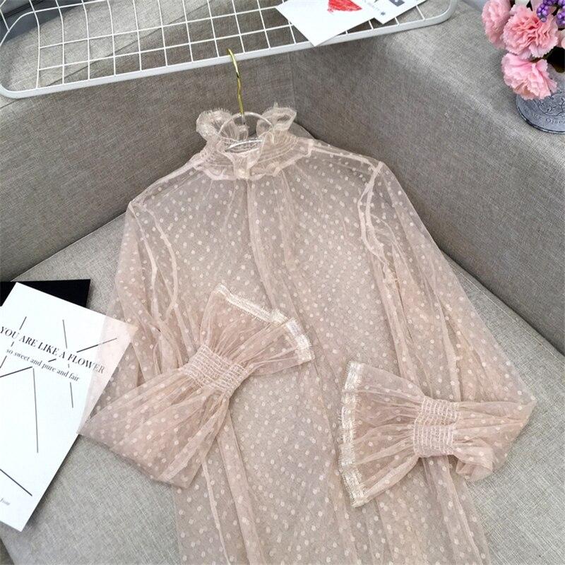Korean Summer Women Lace Blouses Shirts