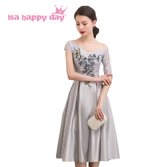 grey womans short satin   bridesmaid   dresse party   dresses   bridal gowns   bridesmaids   tea length   dress   with half sleeved H4287