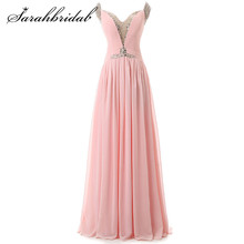 Pink Cheap Long Evening Dresses Chiffon with Beaded Sequins A Line In Stock Prom Party Gowns Zipper Back Women Formal Wear SD127