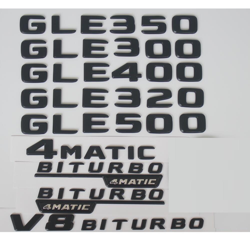 Flat 2018 Gloss Black Letters Trunk Embl Badge Sticker for Mercedes Benz GLE350