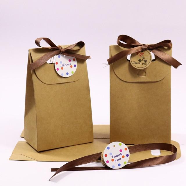 1 set Kraft Sacchetto Di Carta Bianca con il Nastro e Vi Ringrazio Tag Regalo Re