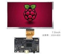 HDMI + Audio LCD Placa de controlador + 7 pulgadas LCD panel 1024*600 5V USB DYI kits para Raspberry Pi 3B 2