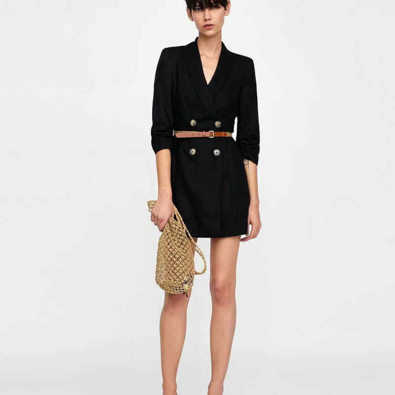 Women New Solid Long Sleeve Blazer Dress Fashion V-Neck Vintage Autumn With Belt Button Dress Vintage Empire Vestidos