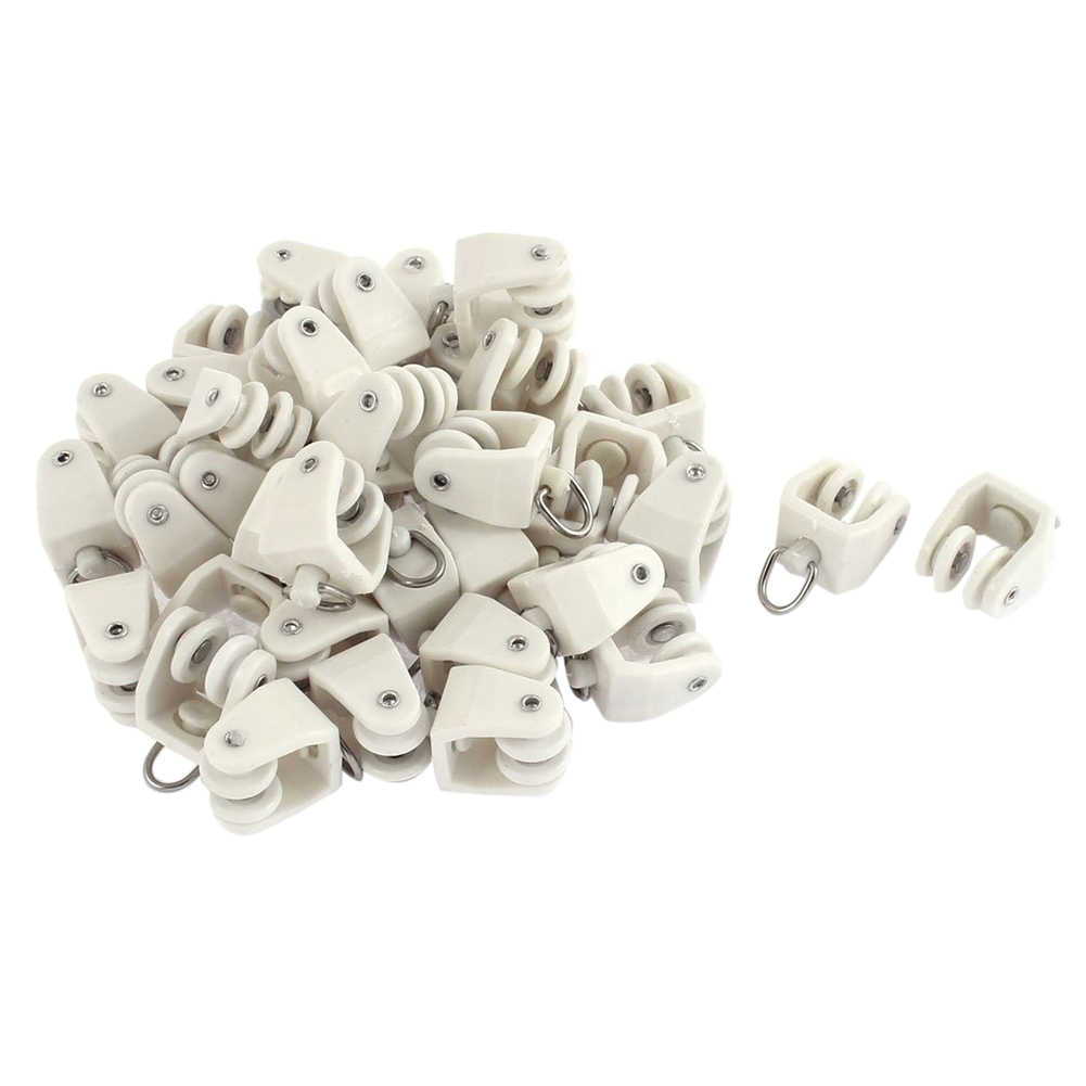 Hot Sale 40pc Plastic Swivel Eye Ring Curtain Track Rail Rollers Carrier White