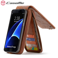 CaseMe Song For Samsung S7 Edge Luxury Chic Wallet Card Slot Leather Phone Cases Magnetic Cover