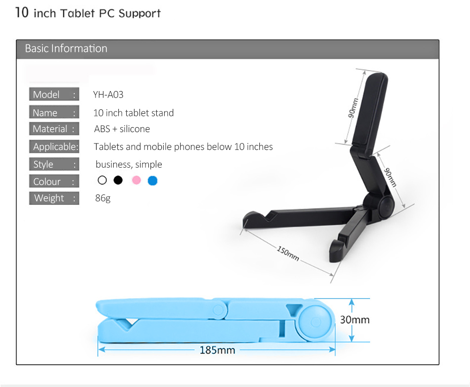 !ACCEZZ ABS Universal Phone Holder For iPhone X 8 7 6s Plus Stand Support For iPad Desktop 180 Degree Adjustable Tablet Bracket (16)