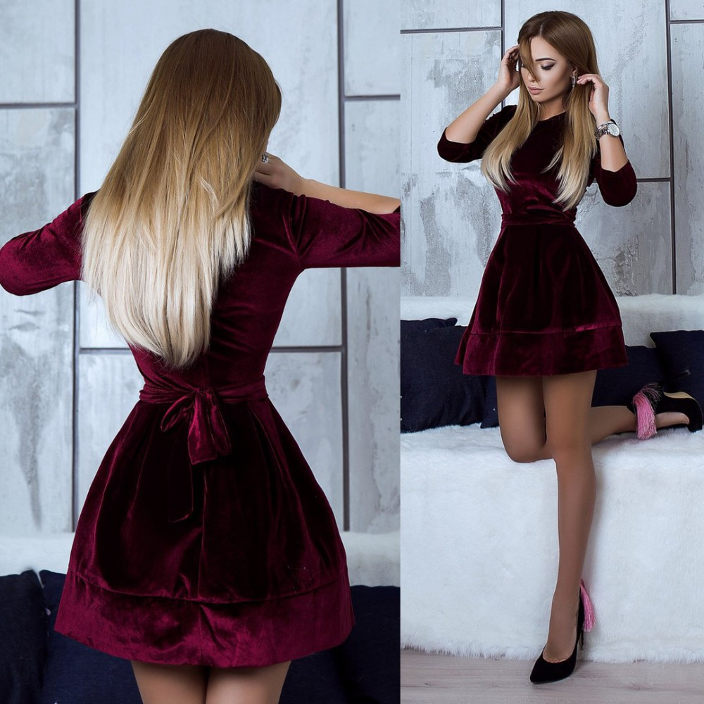 line Mini Velvet Dress Vestidos Special Summer Sale neck Black Pink Dresses Loose A Temperate High Quality New Autumn Fashion Women Warm Winter Casual O