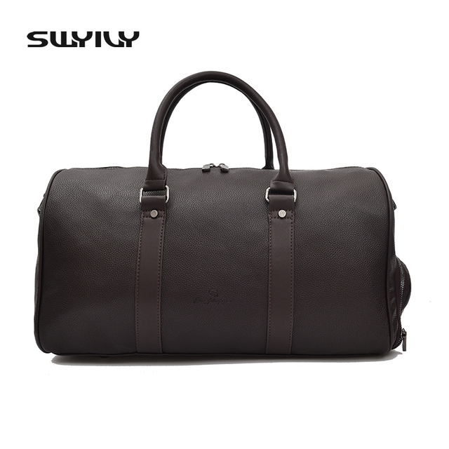 76b133eb73c SWYIVY Men s Large Capacity PU Leather Sports Bag Gym Bag Fitness Sport  Bags Duffel Tote Travel