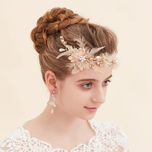 New Design Gold Leaves Feather Wedding Tiara Headpiece Rhinestone Bridal Hair Accessories Jewelry