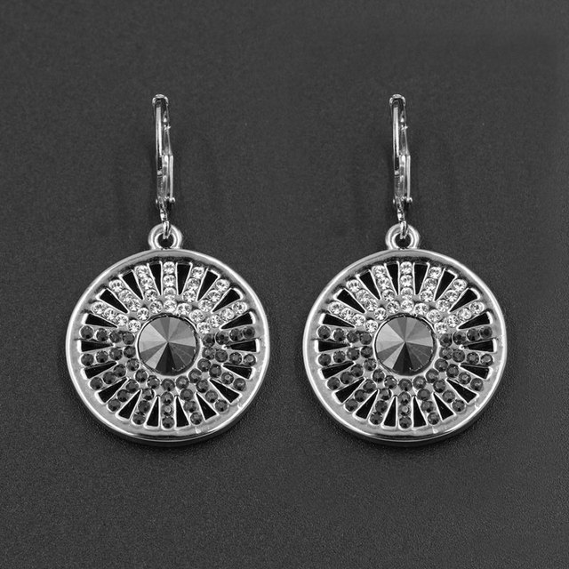 Clear & Black Stellux Rhinestone Hollow Out Round Charm Clip On Earrings Retro Crystal Accessories