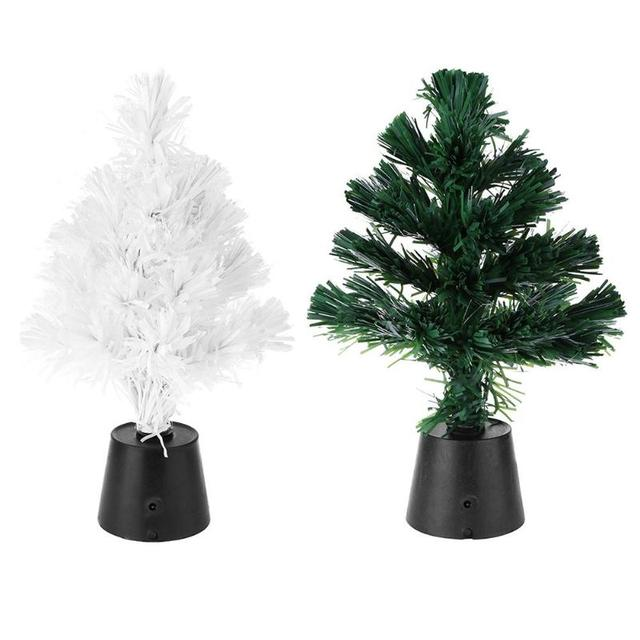 30cm mini fiber optic desktop usb charge christmas tree lighting miniature pine ornament party home decorations
