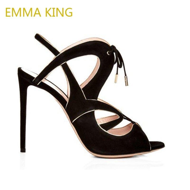 f90284be45fb7 Emma Dames Ouvertes X Pompes Femme Up Mode Sandales Lace sangle Femmes As  Pic Étroites D'été Chaussures ...