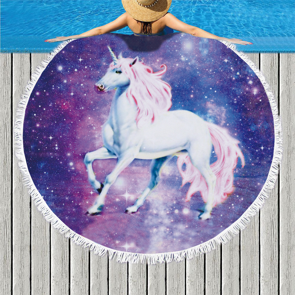 Cartoon Star Unicorn Print Round Beach Towel Microfiber Tassel Large Wall Tapestry Picnic Sport Yoga Blanket Mat Home Deco 150cm