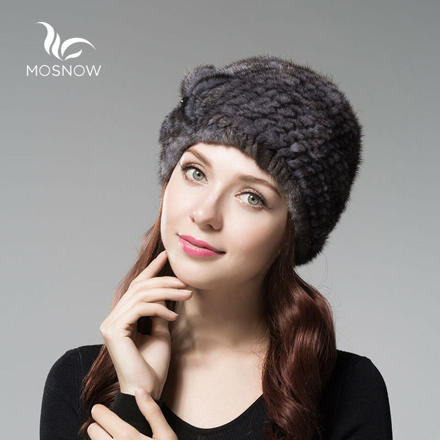 MOSNOW Fashion Elegant Ladies Hat Winter Beanie Mink Fur Flower 2016 Brand New Warm Solid High Quality Bonnet Femme