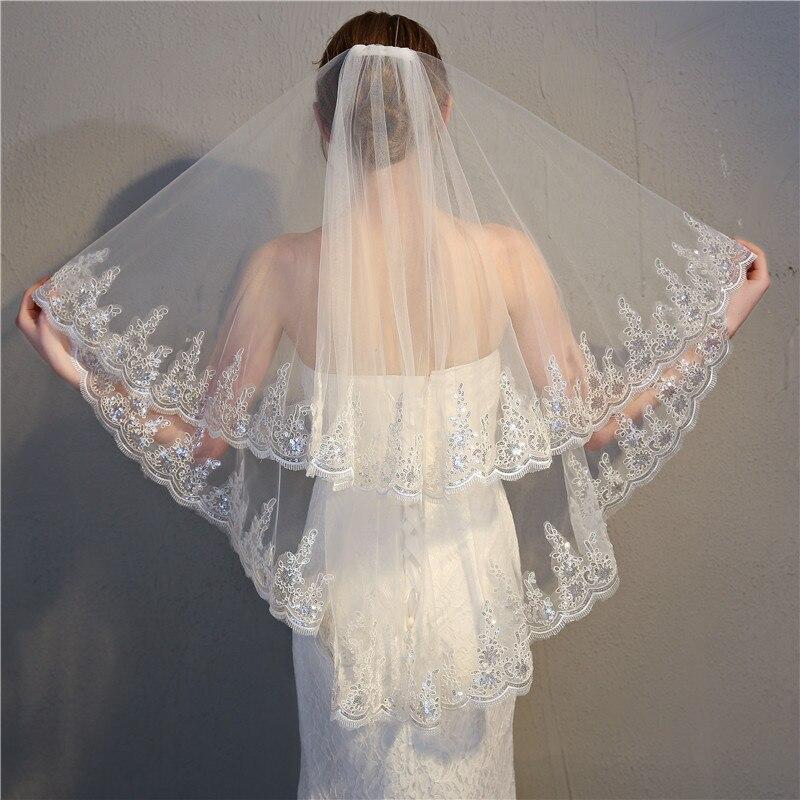 2018 nuevo dos capas lentejuelas encaje Edge velo corto de la boda con peine 2 capas 0.9 Metro tulle velo nupcial para velos del vestido de boda