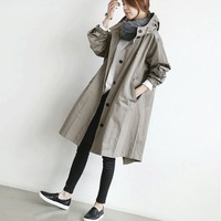 Women Hoodes Coat Long Sleeve Single Breasted Autumn Long Jacket European Style Runway Outwear Women Coats BF N610T3T1