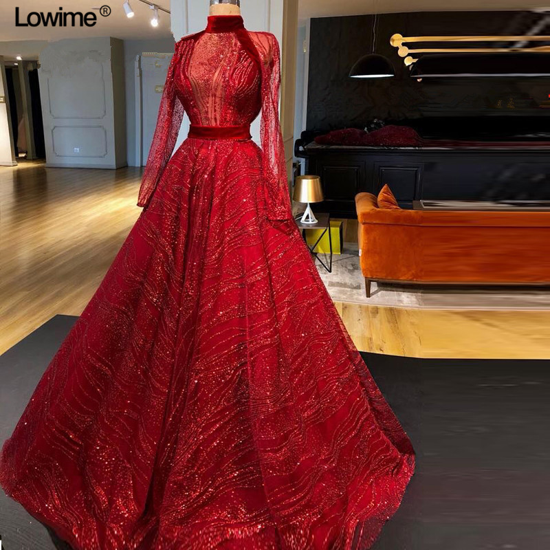 7f865a462a482 SexyEelie Saab Muslim Long Sleeve Arabic Red Ball Gown Formal Evening Party  Prom Dress Dubai Abiye Turkish Evening Gowns Dresses