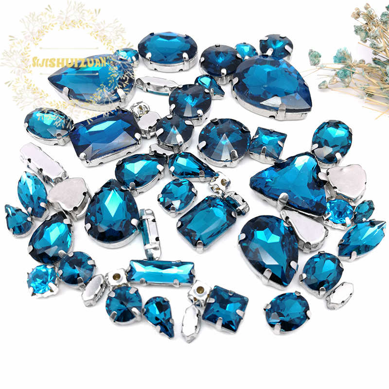 07fd0ffbff 52pcs 23sizes 10shapes MIX Peacock Blue Crystal Glass Sewing Rhinestones  silvery Bottom DIY Women's Dresses and Shoes