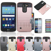 Phone Case For LG K10 LTE K410 K430 K430DS/Premier LTE Mix Color Hybrid Brush Card holder Hard Case Cover With Films+Stylus