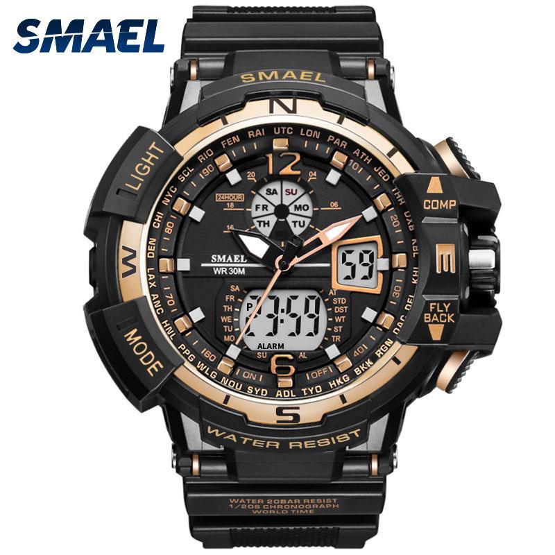 SMAEL Horloge Mannen Digitale Sport Waterdichte Klok Goud Mode Luxe Merk Chronograaf Quartz Elektronische Militaire Horloge 1376C