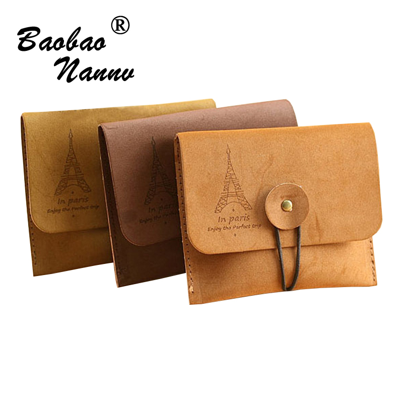 2017 New Coin Purse Woman Man Pouch Simple Brown Bag Wallets Faux Leather Purse Coin Bag Card Holders Mini Money Bag Small Purse