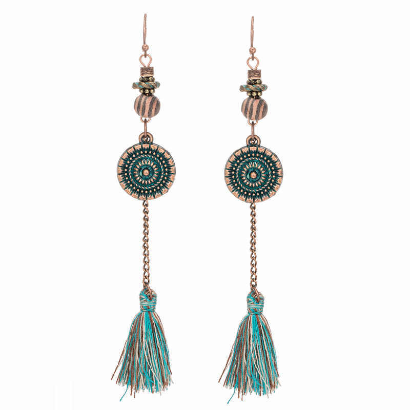 Hanging Drop Earrings Fashion 2017 For Women Bohemian Ethnic Tassel Long Dangling Pendant Earring For Girls Wedding Jewelry
