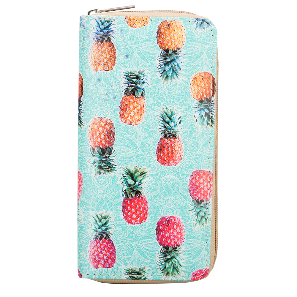 Sansarya 2018 Lovely Fruit Pattern Pineapple Print Woman Wallet Girls Teenager Zipper Casual Long Wallet Card Holder Money Bag