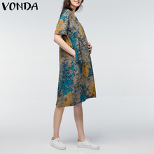 VONDA 2018 Summer Women Vintage Floral Print Maternity Dress Casual Loose Short Sleeve Pregnant Mother Clothes Plus Size M-5XL