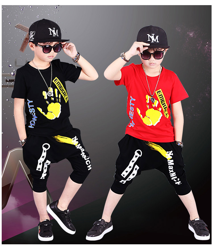 2018 Summer Boys Clothing Sets hip hop baby boy Children Clothes Cotton T-shirts + Haren Pants Tracksuits vetement garcon2018 Summer Boys Clothing Sets hip hop baby boy Children Clothes Cotton T-shirts + Haren Pants Tracksuits vetement garcon