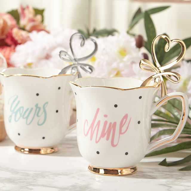 hand painted gold letter ceramic coffee mug espresso coffee cup tea pot set tea tray for