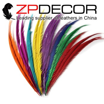 ZPDECOR 65-70cm(26-28inch) 50pieces Hand Select Bleached Dyed Long Golden Center Pheasant Tail Feathers for Carnival Decoration