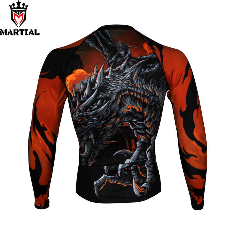 Martial : NEW ARRIVAL  Fire and Blood printed full sleeve rashguards fitness mma boxing jersey  RASHGUARDS running shirt