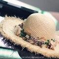 Ráfia Palha Chapéus de Sol de verão Grande chapéu de Abas Largas Mulheres Floral Grinalda SCCDS-046 Disquete Chapéus de Praia Feminino Frete Grátis
