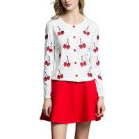 2017 Casual Autumn Spring Women S Cherry Sweatshirt Embroidery Pattern Lady S Jacket Long Sleeve Short