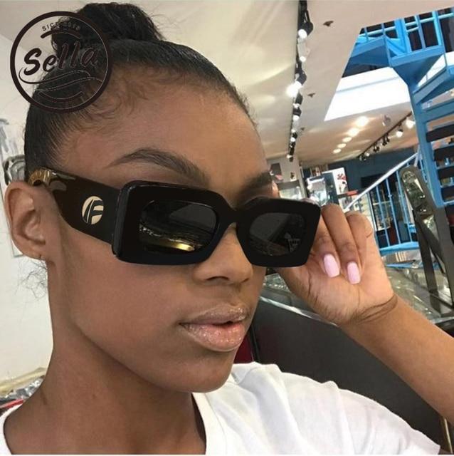 ef6feb688be Sella 2018 New Fashion Women Men Simple Narrow Square Sunglasses Trending  Popular Unique Small Rectangle Sun
